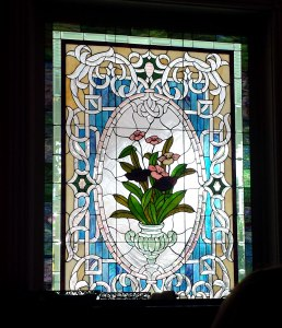 Stained glass window near side entrance.