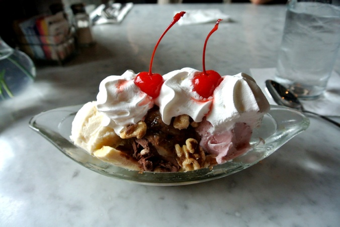 Classic Banana Split: Vanilla, chocolate, and strawberry ice cream topped with pineapple, strawberries, walnuts, whipped cream, and cherries. Can't mess with the classics!